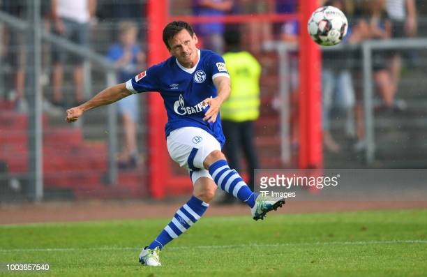 Sascha Riether of Schalke controls the ball during the Friendly match between Schwarz Weiss Essen and FC Schalke 04 on July 21 2018 in Essen Germany