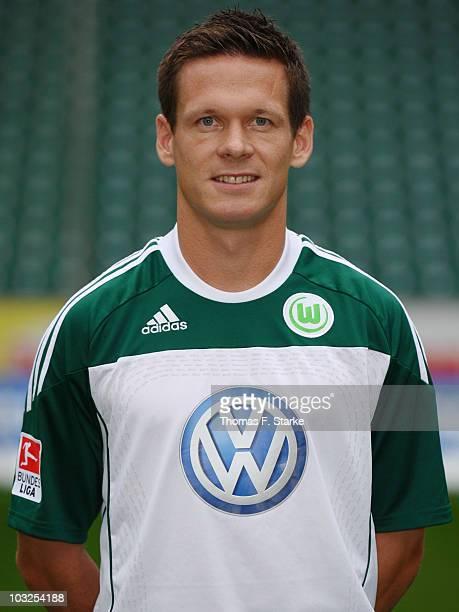 Sascha Riether poses during the VfL Wolfsburg Team Presentation at the Volkswagen Arena on August 5, 2010 in Wolfsburg, Germany.