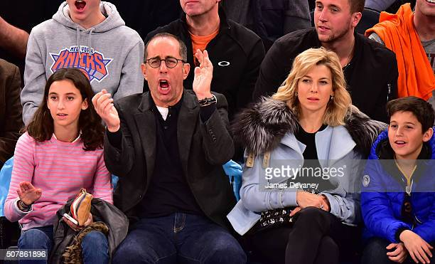 Sascha Seinfeld, Jerry Seinfeld, Jessica Seinfeld and Julian Kal Seinfeld attend the Golden State Warriors vs New York Knicks game at Madison Square...