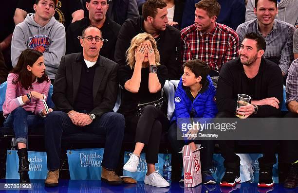 Sascha Seinfeld, Jerry Seinfeld, Jessica Seinfeld, Julian Kal Seinfeld and Matt Harvey attend the Golden State Warriors vs New York Knicks game at...