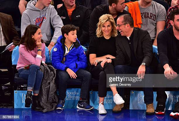 Sascha Seinfeld, Julian Kal Seinfeld, Jessica Seinfeld and Jerry Seinfeld attend the Golden State Warriors vs New York Knicks game at Madison Square...