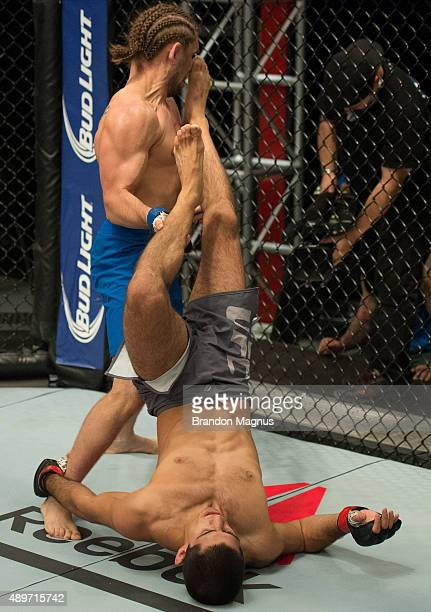 Sascha Sharma up-kicks Chris Gruetzemacher during the filming of The Ultimate Fighter: Team McGregor vs Team Faber at the UFC TUF Gym on July 27,...