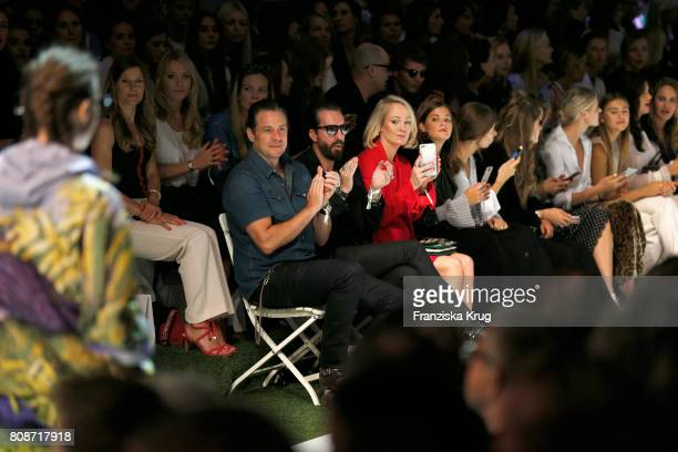 Sascha Vollmer Alec Voelkel and Kathrin Gelinsky attend the Marc Cain Fashion Show Spring/Summer 2018 at ewerk on July 4 2017 in Berlin Germany