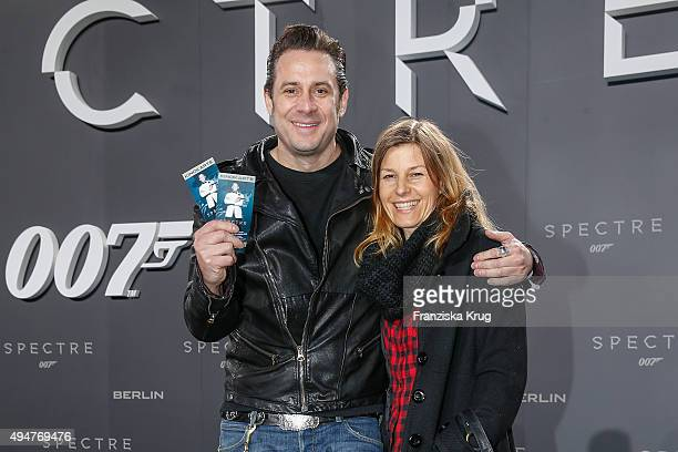 Sascha Vollmer from BossHoss and his girlfriend Jenny attend the Spectre' German Premiere on October 28 2015 in Berlin Germany