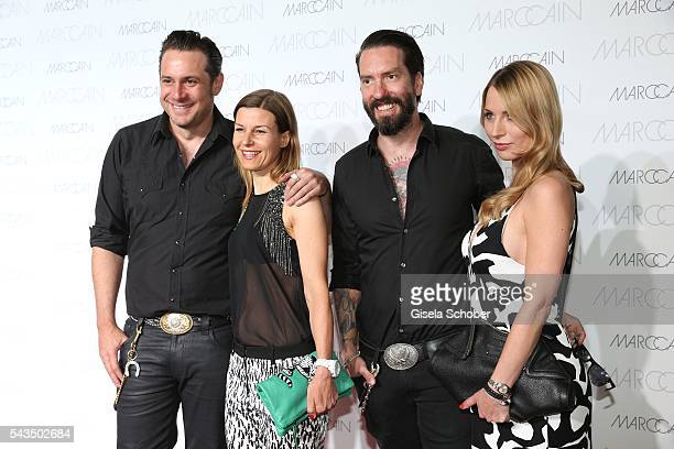 Sascha Vollmer member of 'The Boss Hoss' and his girlfriend Jenny and Alec Voelkelmember of 'The Boss Hoss' and his wife Johanna Michels during the...