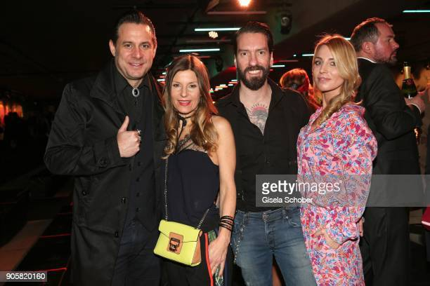 Sascha Vollmer member of 'The Boss Hoss' and his girlfriend Jenny and Alec Voelkel member of 'The Boss Hoss' and his wife Johanna Michels during the...