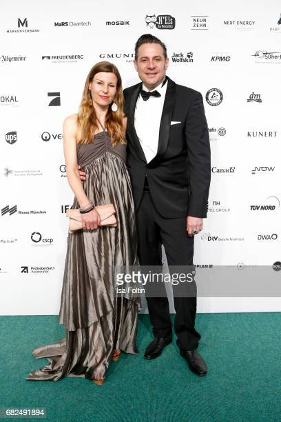 Sascha Vollmer member of 'The Boss Hoss' and his wife Jenny Vollmer attend the GreenTec Awards at ewerk on May 12 2017 in Berlin Germany