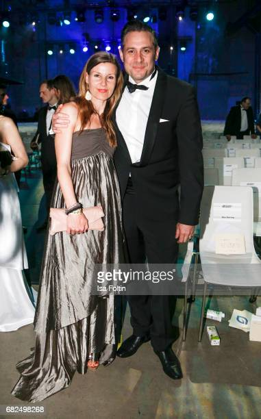 Sascha Vollmer member of 'The Boss Hoss' and his wife Jenny Vollmer during the GreenTec Awards Show at ewerk on May 12 2017 in Berlin Germany