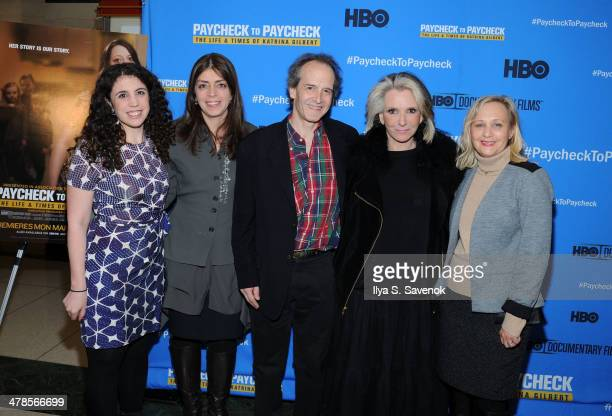 """Sascha Weiss, Nancy Abraham, Sheila Nevins, Nick Doob and Shari Cookson attend """"Paycheck To Paycheck: The Life And Times Of Katrina Gilbert"""" New York..."""