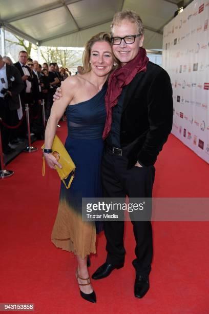Sascha Wussow and his wife Andrea Mostler attend the 'Goldene Sonne 2018' Award by SonnenklarTV on April 7 2018 in Kalkar Germany