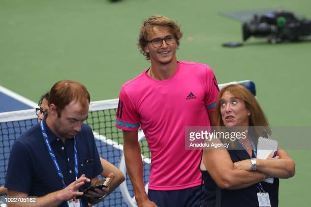 Sascha Zverev of Germany stands after a press conference ahead of US Open 2018 tournament in Louis Armstrong Stadium in Flushing New York United...