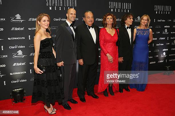Sasha Alessandro Eduardo Ponti Carlos Slim Helú Sophia Loren Carlo Ponti and Andrea Ponti attend the Sophia Loren's 80th birthday dinner at Museo...
