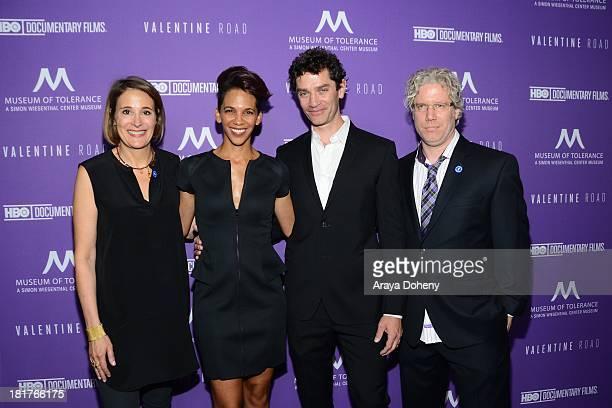 Sasha Alpert Marta Cunningham and Eddie Schmidt attend the Los Angeles premiere screening of Valentine Road at Museum Of Tolerance on September 24...