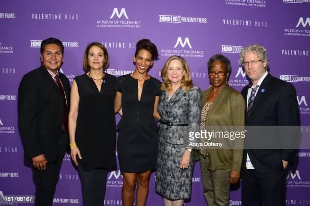 Sasha Alpert Marta Cunningham Eddie Schmidt and guests attend the Los Angeles premiere screening of Valentine Road at Museum Of Tolerance on...
