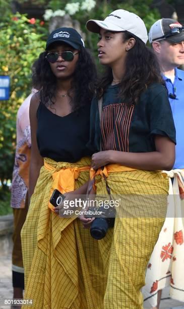 Sasha and Malia daughters of former US president Barack Obama visit Tirtha Empul temple at Tampaksiring Village in Gianyar on the Indonesian resort...