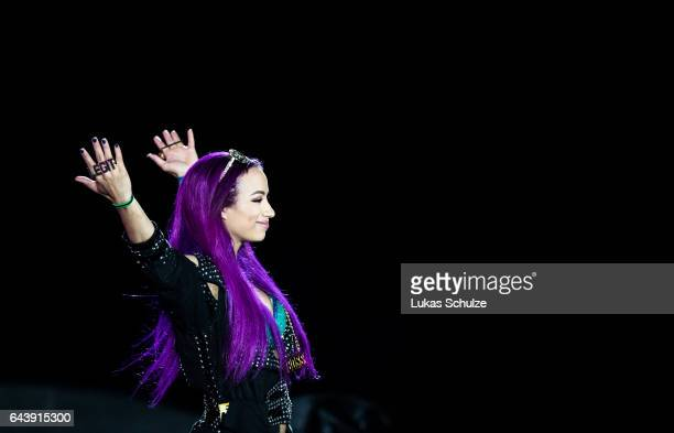 Sasha Banks arrives during to the WWE Live Duesseldorf event at ISS Dome on February 22 2017 in Duesseldorf Germany