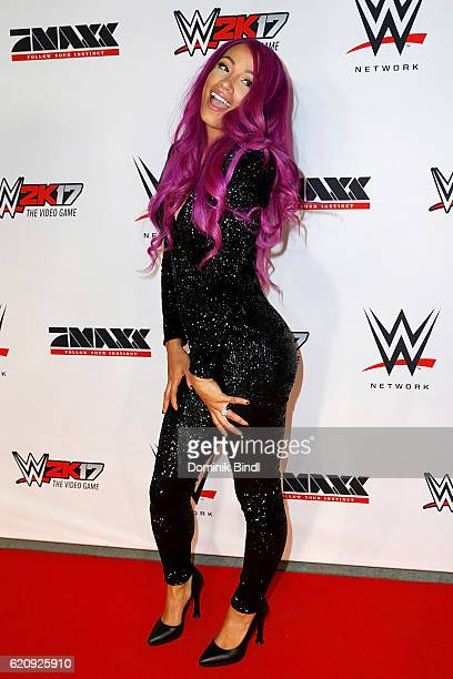 Sasha Banks attends Tim Wiese's first WWE fight at Olympiahalle on November 3 2016 in Munich Germany