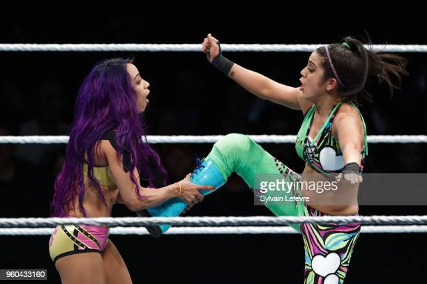 Sasha Banks in action vs Bayley during WWE Live AccorHotels Arena Popb Paris Bercy on May 19 2018 in Paris France