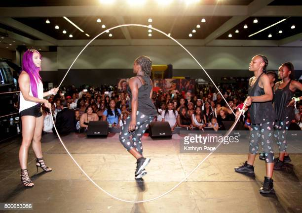 Sasha Banks jump ropes onstage during day one of CocaCola Music Studio during hte 2017 BET Experience at Los Angeles Convention Center on June 24...
