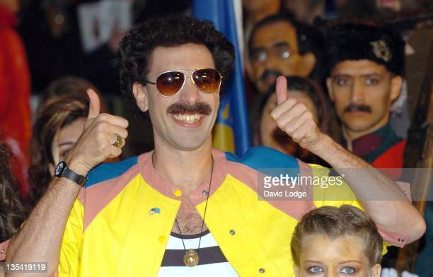 Sasha Bohen Cohen as Borat during The Times BFI 50th London Film Festival UK Premiere of 'Borat' at Odeon West End in London Great Britain