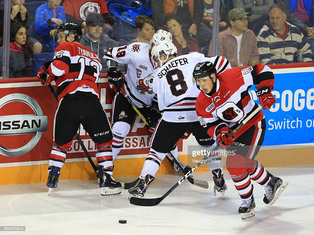 Sasha Chmleveski #89 of the Ottawa 67's wins the puck along the boards during the third period of an OHL game against the Niagara IceDogs at the Meridian Centre on November 18, 2016 in St Catharines, Canada.