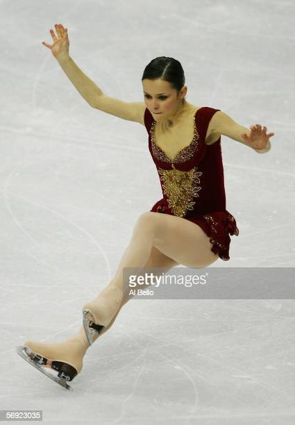 Sasha Cohen of the United States falls suring her performance during the women's Free Skating program of figure skating during Day 13 of the Turin...