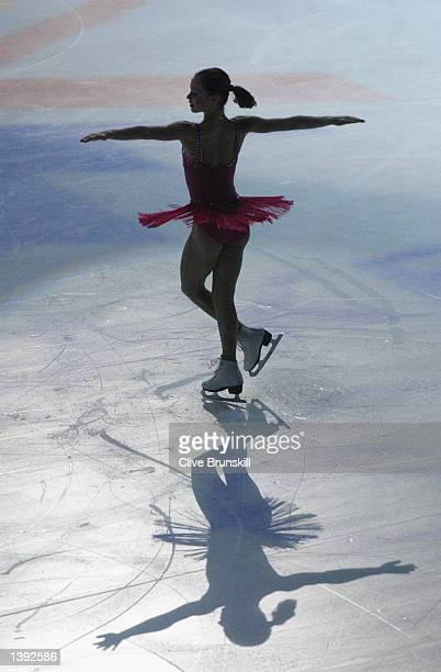 Sasha Cohen of the USA performs in the figure skating exhibition during the Salt Lake City Winter Olympic Games on February 22 2002 at the Salt Lake...