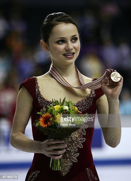 Sasha Cohen of USA poses with the bronze medal in the Ladies Free Skating during the ISU World Figure Skating Championships at the Pengrowth...