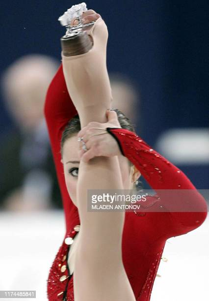 US Sasha Cohen performs during the Ladies Short program of the 2005 World Figure Skating Championships at the Luzhniki Sports Palace in Moscow 18...