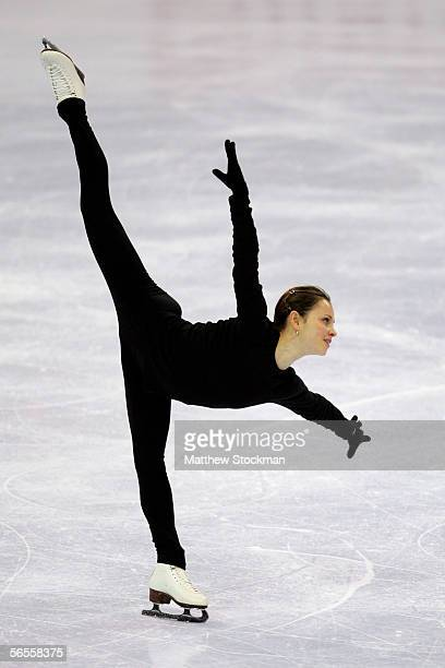 Sasha Cohen skates during her practice session prior to competing in the 2006 State Farm U.S. Figure Championships at the Savvis Center on January...