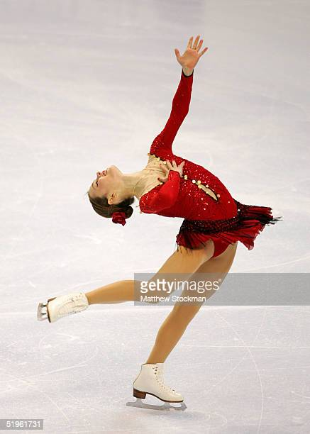 Sasha Cohen skates while competing in the women's short program during the State Farm US Figure Skating Championships at the Rose Garden on January...