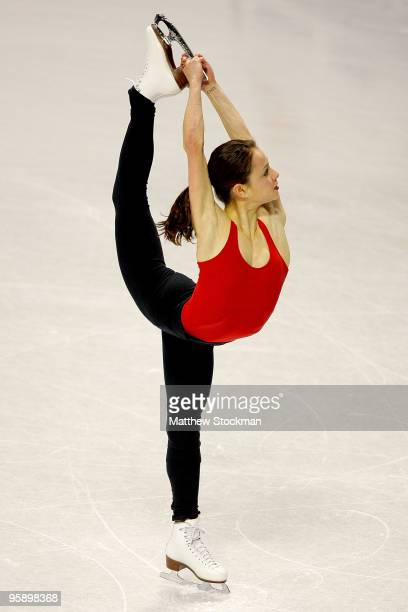 Sasha Cohen works on her routine during practice in preparation for the US Figure Skating Championships at Spokane Arena on January 20 2010 in...