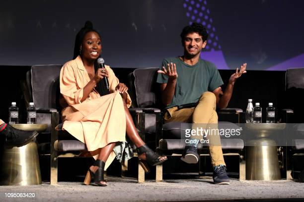 Sasha Compère and Karan Soni speak onstage at the Miracle Workers screening during SCAD aTVfest 2019 at SCADshow on February 7 2019 in Atlanta Georgia
