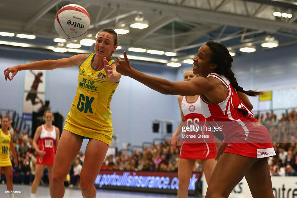 Sasha Corbin (R) of England challenges forpossession with Rebecca Bulley (L) of Australia during the England v Australia International Netball Series match at the University of Bath on January 20, 2013 in Bath, England.