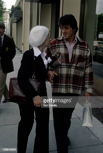 Sasha Czack Stallone and Sylvester Stallone during Sylvester Stallone and Wife Sasha Stallone Sighting on Rodeo Drive April 12 1978 at Rodeo Drive in...