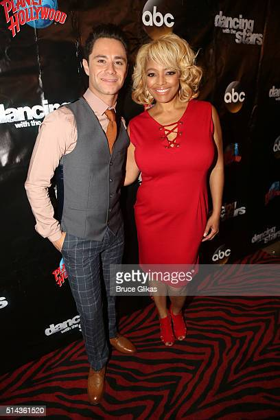 Sasha Farber and partner Kim Fields pose at the 22nd Season Stars of ABC's 'Dancing With The Stars' cast announcement at Planet Hollywood Times...