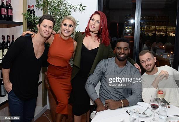 Sasha Farber Emma Slater Keoikantse 'Keo' Motsepe Sharna Burgess and Artem Chigvintsev attend Emma Slater And Sasha Farber's Engagement Dinner at Fig...