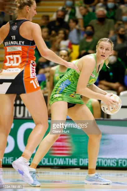 Sasha Glasgow of the Fever controls the ball during the Preliminary Final Super Netball match between the GWS Giants and West Coast Fever at...