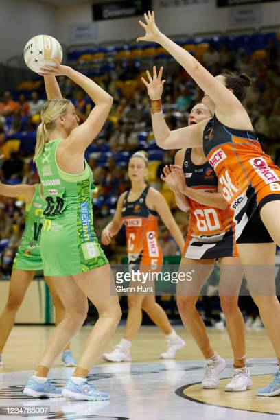 Sasha Glasgow of the Fever shoots the ball during the Preliminary Final Super Netball match between the GWS Giants and West Coast Fever at University...