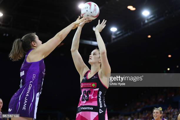 Sasha Glasgow of the Thunderbirds shoots during the round 12 Super Netball match between the Firebirds and the Thunderbirds at Brisbane Entertainment...