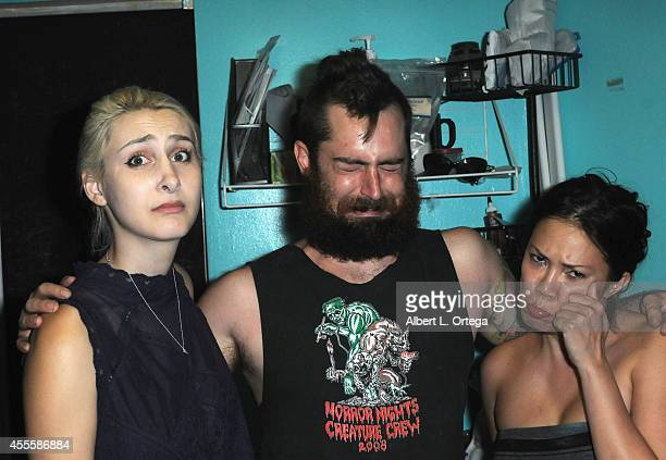 Sasha Glasser George Troester III and Rannie Rodill at 'Mondo Crazy Mega Blut Qveefy Faceoff Viewing Party' For SyFy's 'Face Off' Season 7 on...