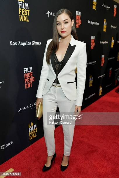 Sasha Grey arrives at the 2018 LAFF Blumhouse at The WGA Theater on September 21 2018 in Beverly Hills California