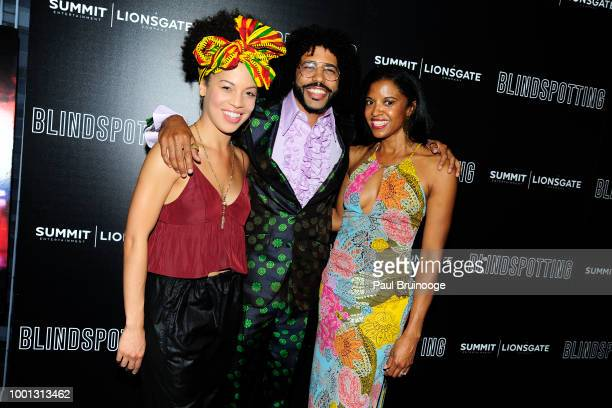 Sasha Hutchings Daveed Diggs and Renee Elise Goldsberry attend as Lionsgate with the Cinema Society host a screening of 'Blindspotting' at Angelika...