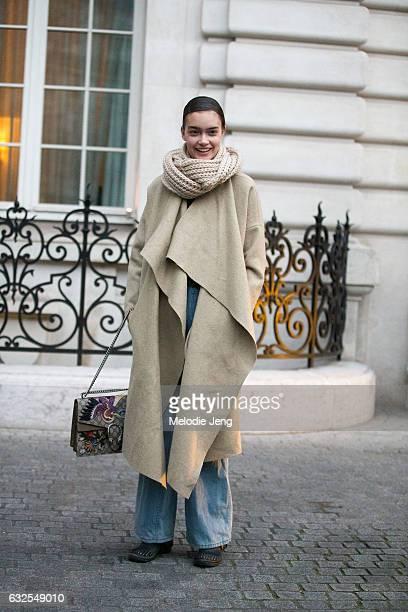 Sasha Kichigina outside the Francesco Scognamiglio show at a ShangriLa hotel on January 23 2017 in Paris France