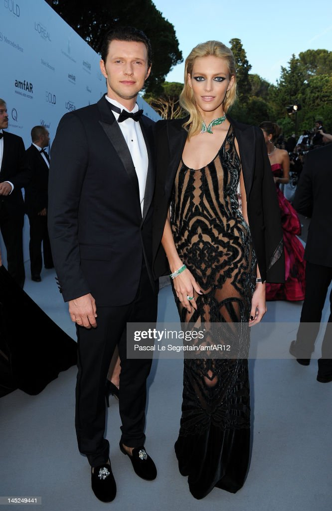 Sasha Knezevic and Anja Rubik arrive at the 2012 amfAR's Cinema Against AIDS during the 65th Annual Cannes Film Festival at Hotel Du Cap on May 24, 2012 in Cap D'Antibes, France.