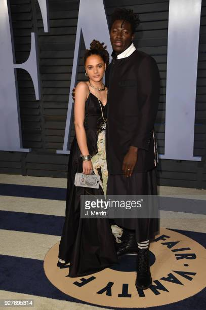 Sasha Lane and Moses Sumney attend the 2018 Vanity Fair Oscar Party hosted by Radhika Jones at the Wallis Annenberg Center for the Performing Arts on...