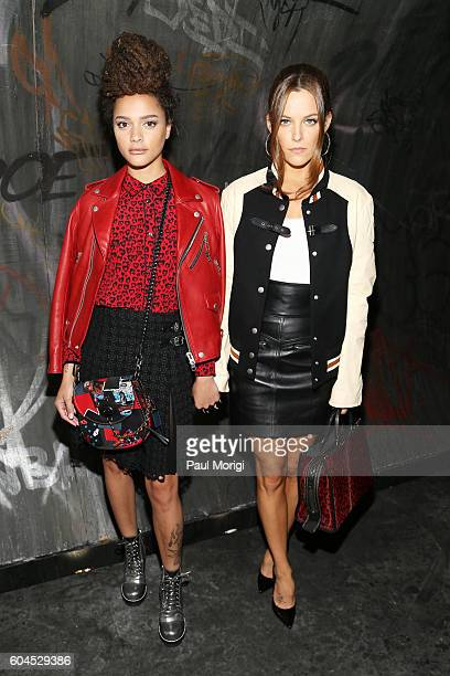 Sasha Lane and Riley Keough arrive at the Coach 1941 Women's Spring 2017 Show at Pier 76 on September 13 2016 in New York City