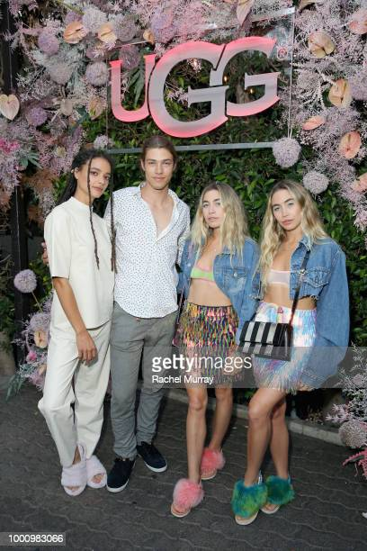 Sasha Lane Daniel Hivner Lexie Kaplan and Allie Kaplan attend the A/W'18 UGG Collective Global Campaign Launch hosted by Sasha Lane at Rose Cafe on...