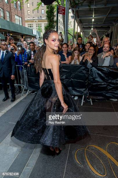 Sasha Lane is seen departing the Carlyle Hotel to attend 'Rei Kawakubo/Comme des Garcons Art Of The InBetween' Costume Institute Gala on May 1 2017...