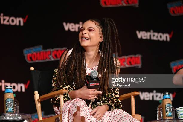 Sasha Lane speaks onstage at the Hellboy panel during New York Comic Con at Jacob Javits Center on October 6 2018 in New York City